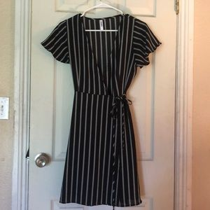 Stripped, Bell-Sleeved Wrap Dress